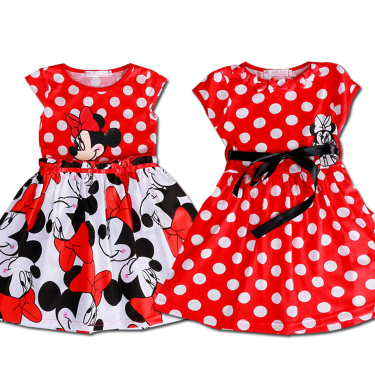 High quality,Cartoon girl dresses Children dresses Tutu Princess Baby Minnie Mouse Dress Dot Baby Casual Paty Dress 1-5Y 060504(China (Mainland))