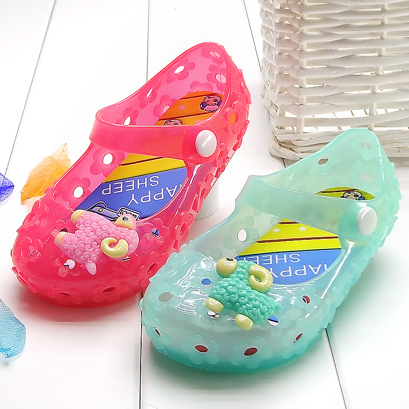 Кристалл желе пластиковые ребенок ребенок девочка сандалии лампа принцесса обувь обувь для девочек летом стиль дети sandalias 14.2 - 16.7 см