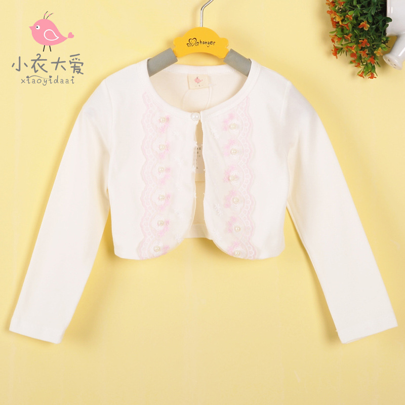 New 2015 fashion outerwear lace long sleeve gentlewomen all-match baby girls cardigan knitted sweater shrug free shipping(China (Mainland))