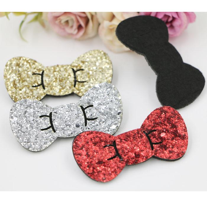 New Arrived Bowknots Shape Glitter Sequin Bow Non-woven Felt Handmade Fashion Girls hair accessories diy Jewelry Hair ornament(China (Mainland))