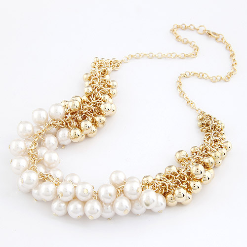 Colares Femininos Simulated Pearl Necklace for Women Fashion Gold Beads Choker Necklaces Statement Jewelry 2015 collier