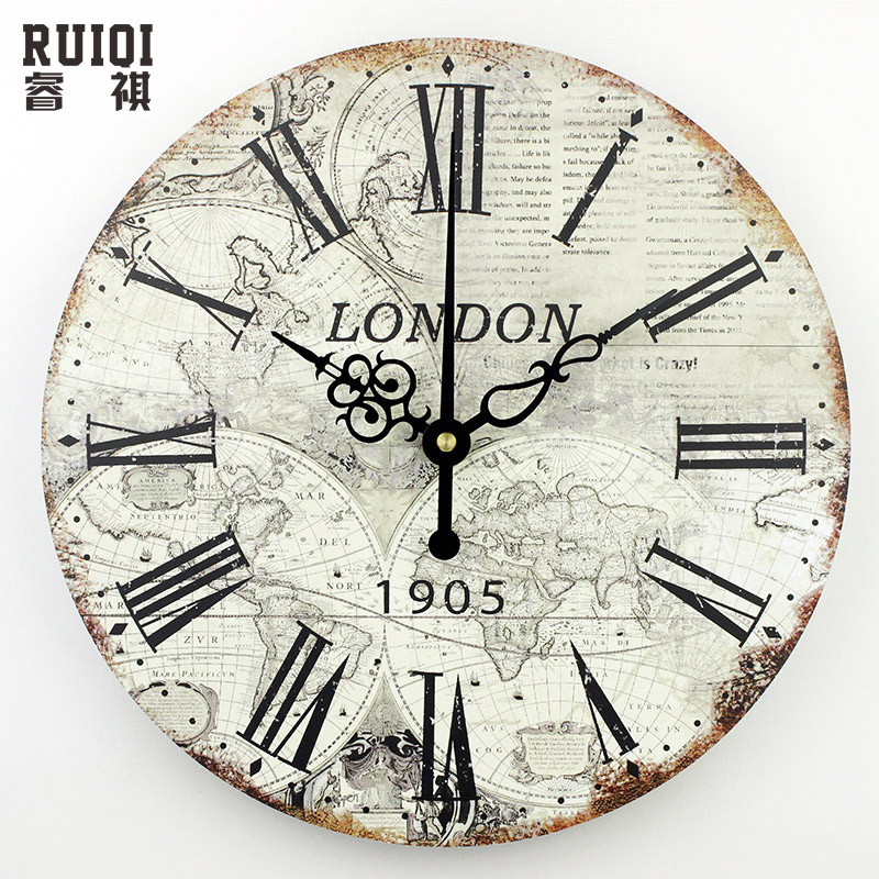 World map large decorative wall clock modern design fashion silent meeting ro - Plaque decorative murale ...