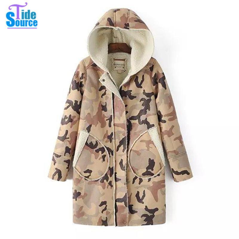 2016 Korean Fashion Medium-long Winter Jackets Women Hooded Parka Oversize Camouflage Printed Warm Outwear Coat with Wool Lining(China (Mainland))