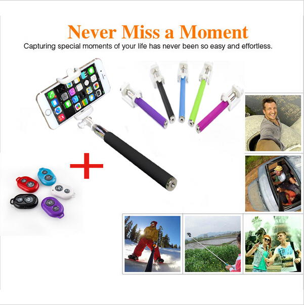 Top 1 ! Extendable Self palo Selfie Stick Handheld Monopod +Clip Holder+Bluetooth Camera Shutter Controller for trave take photo(China (Mainland))
