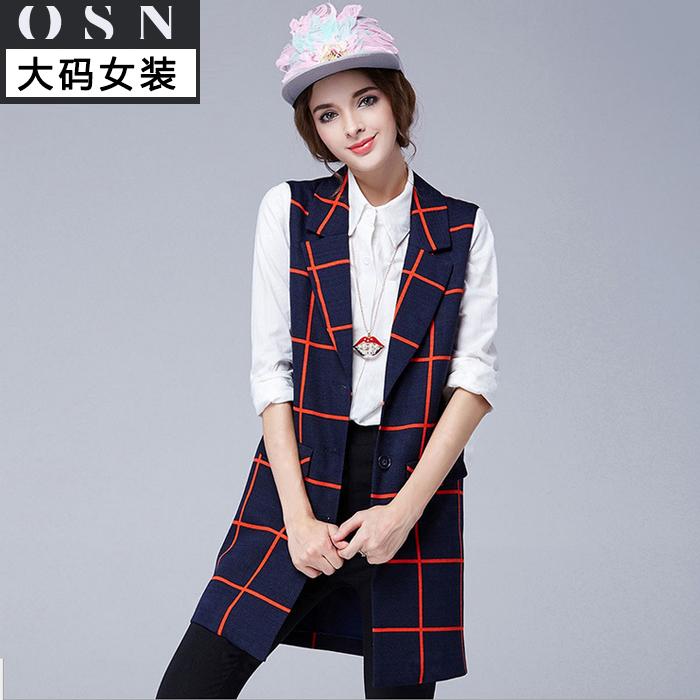 Гаджет  2015 new winter Couture XXL mm fat thin checkered vest pocket Lapel long coat None Изготовление под заказ