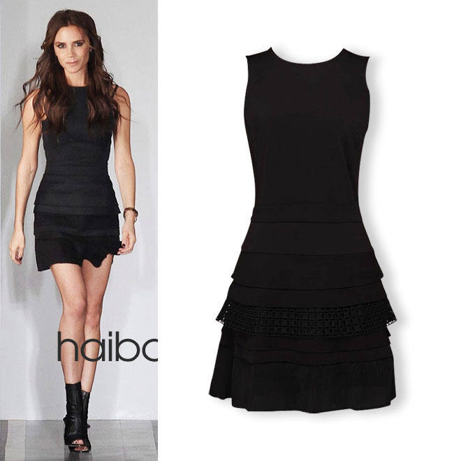 Victoria Beckham Dresses 2014 New Fashion Spring Summer Victoria Style Slim Design Pleated Short