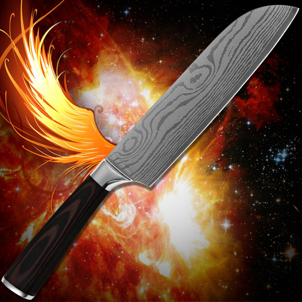 Buy Kitchenware 7 inch santoku knife stainless steel Damascus pattern kitchen knife comfortable grip cooking tools safe packaging cheap