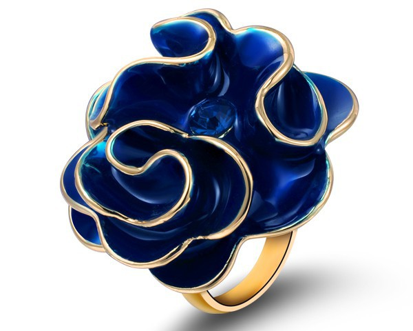 Austria Crystal &amp; Blue Enamel Ring Rose Jewelry Valentine Gift For Females Romantic Style Women Gifts Gold Plated Ring RJZ0017<br><br>Aliexpress