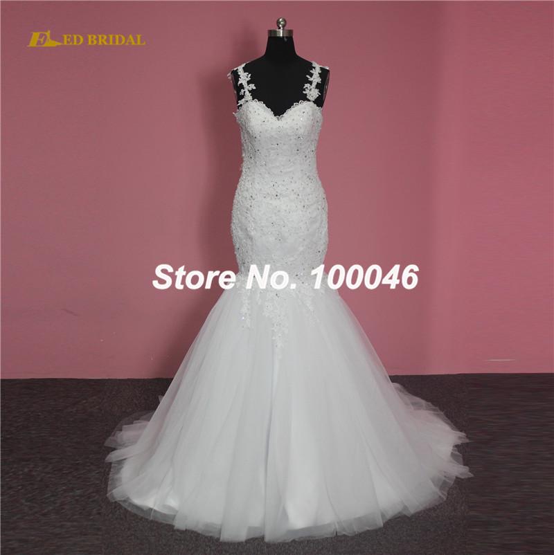 Gorgeous detachable train wedding dress spaghetti straps for Mermaid wedding dress with detachable train