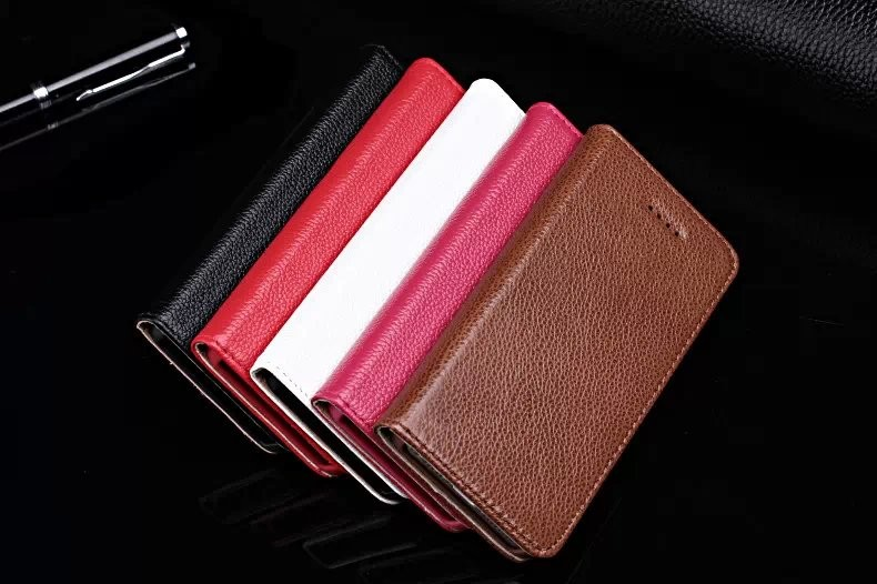 Real Genuine Cow Leather Case For iPhone 4 4S 5 5S SE CelL Phone Litchi Grain Magnet Flip Covers Smart Phone Cases