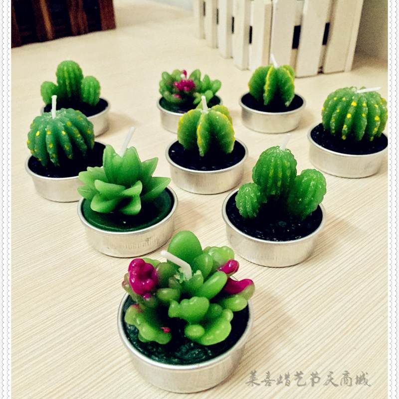 Green plant small candle green cactus home decoration gift bonsai candle(China (Mainland))