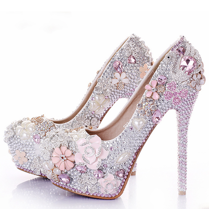 Rhinestone flower pink wedding shoes stiletto heel 14cm for Heels for wedding dress