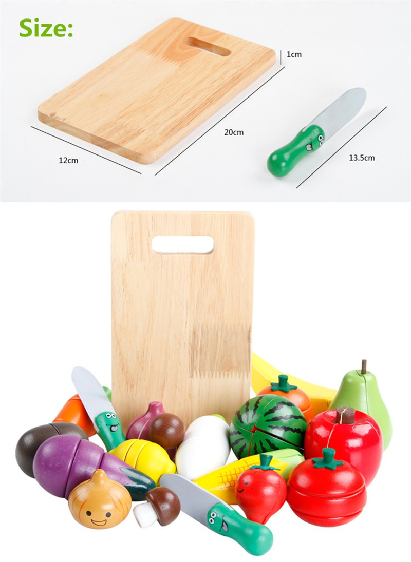 Retail wood Puzzle Minimize vegatables and fruits magnetic playhouse early childhood instructional toys for kids birthday items
