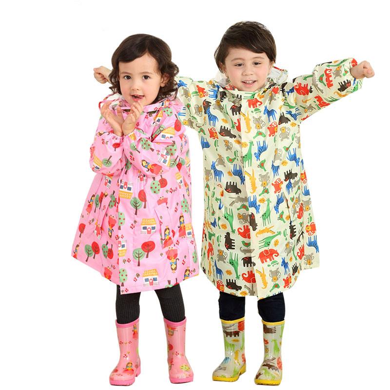 Children-girl-boy-polyester-blue-pink-cartoon-raincape-raincoat-primary-school-rainwear-kid-students-cartoon-poncho