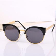 2015 New Fashion Retro Designer Women Round Circle Glasses Cat Eye Semi-Rimless Vintage Sunglasses Goggles Oculos de sol