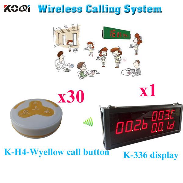 Restaurant Buzzer System Waitresses Dresses Vibrating Wireless Pager( 1pcs display+ 30pcs call button)(China (Mainland))