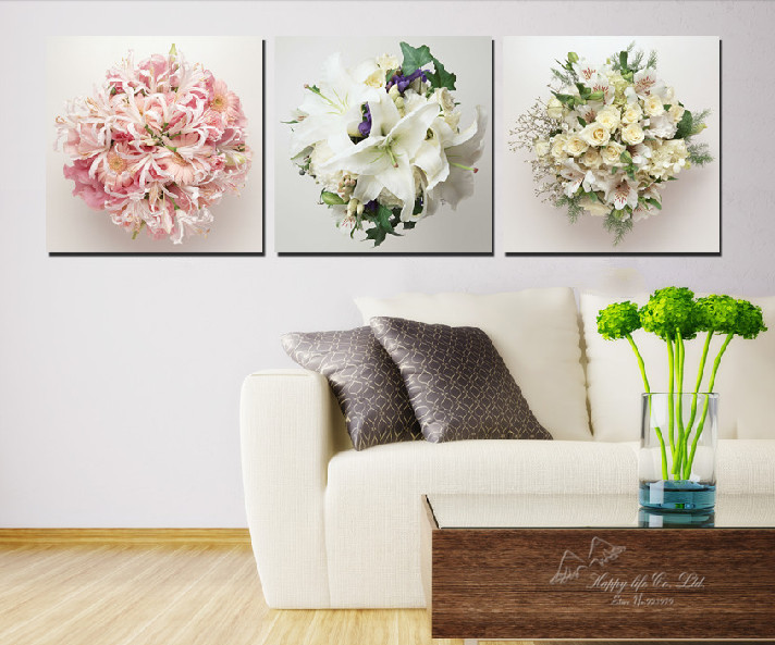 Art picture oil painting canvas prints wall art 3 pieces for Modern decorative pieces