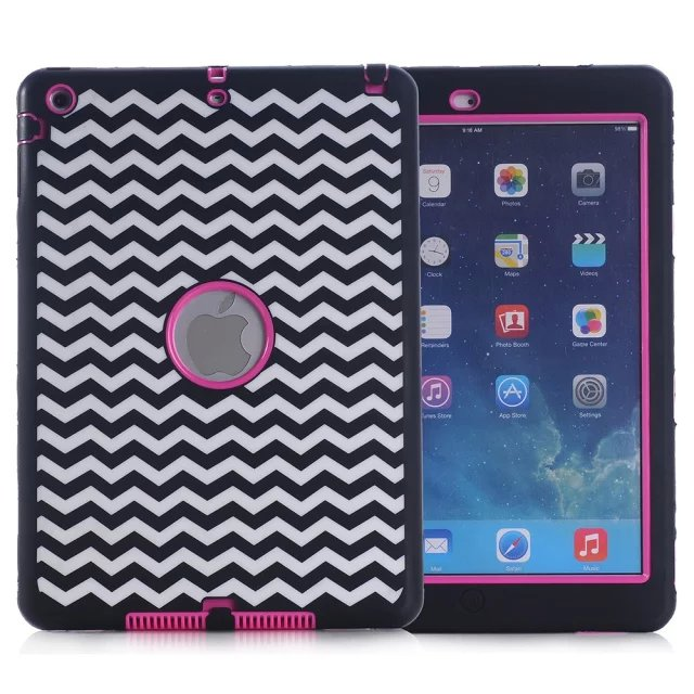 2016 Wave Pattern Case For iPad Air iPad 5 Amor Shockproof Heavy Duty Rubber&Plastic Case Cover for Apple iPad Air Coque(China (Mainland))