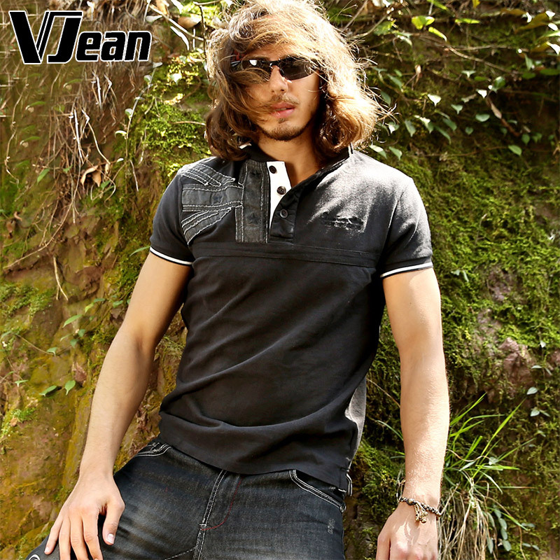 V JEAN Outdoor Men's Fashion Cotton Polo Shirt Short Sleeve with Applique(China (Mainland))