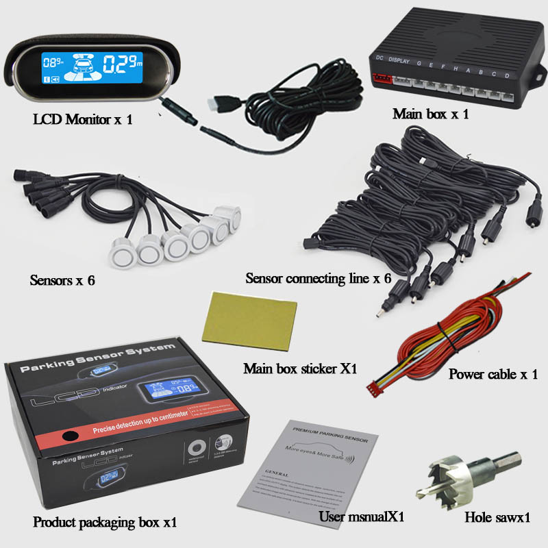 Car parking sensor with LCD display 6 sensors 6 color buzzer alarm Parktronic Car Reverse Radar Rear view auto detector(China (Mainland))