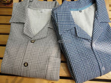 (1Set/Lot) Men Pajama sets, Cotton Sleepwear, Japanese Pajamas, Plaid style Color Grey/Blue, Size L in Stock Wholesale(China (Mainland))