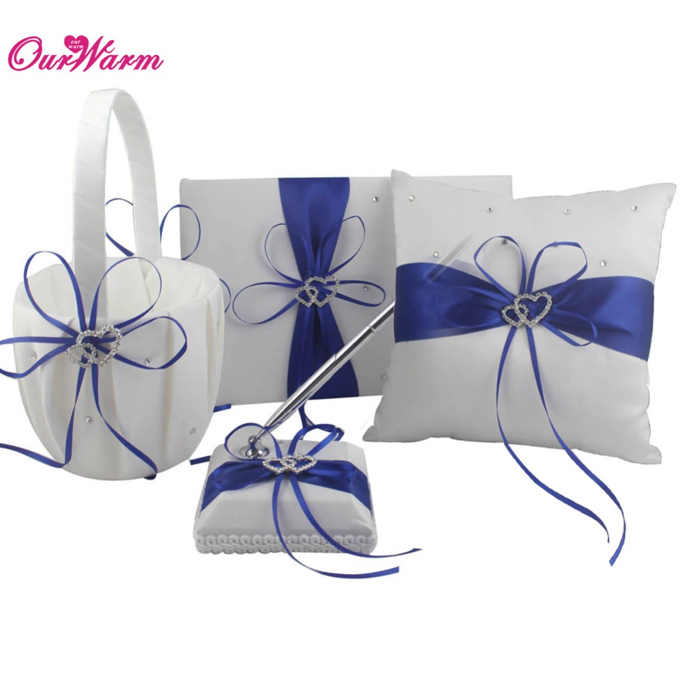 4Pcs/set Wedding Ring Pillow and Flower Basket Wedding Guest Book and Pen Set with Satin Ribbon Bow Heart Rhinestone Buckcle(China (Mainland))