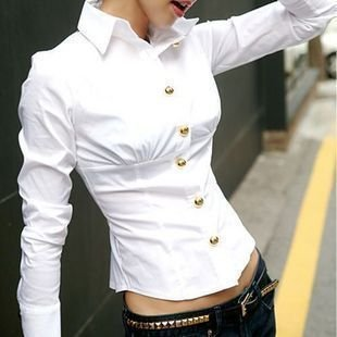 XL Leisure Hitz Korean Slim waist white long-sleeved cotton shirt collar 50%EMS discount - bingwen chen's store