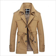 2016 fashion light trench coat men british style long trench slim fit winter jacket men plus size mens overcoats (FY013)(China (Mainland))
