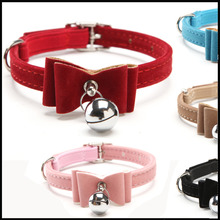 2016 Safety Elastic Quick release bow tie with bell small dog cat collars safe soft velvet 5 colors pet Products free shipping(China (Mainland))