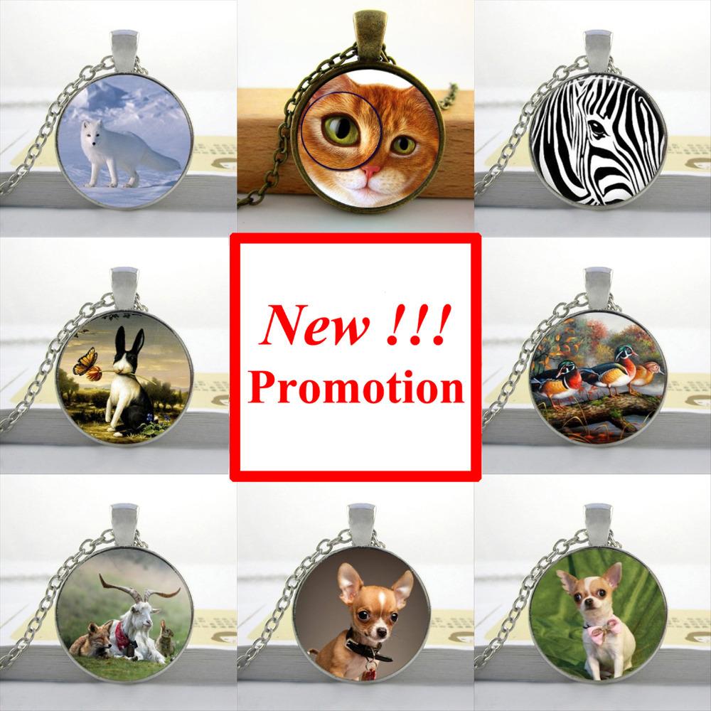 2015 New Fashion Round Glass Cabochon 25mm Glass Animal Necklace Dog Cat Jewelry Girls Glass Cabochon Necklace(China (Mainland))