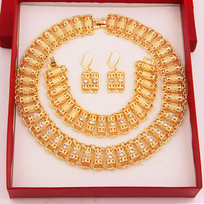 HOT sale african costume jewelry set 18k gold plated crystal jewelry sets fashion necklace set for women wedding(China (Mainland))