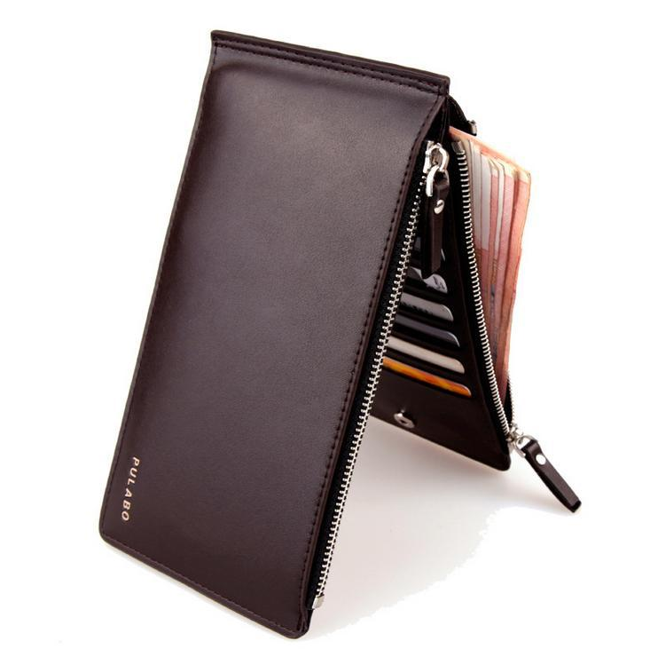 ultrathin double zipper HOT SELL 2015Fashion Designers Famous Men's Wallets Money Clip Vertical Free Shipping(China (Mainland))