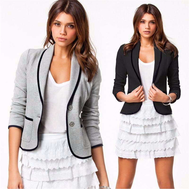 BISM Autumn Woman Fashion Gray Short Turn Down Collar Design Slim Coat Jacket Suits