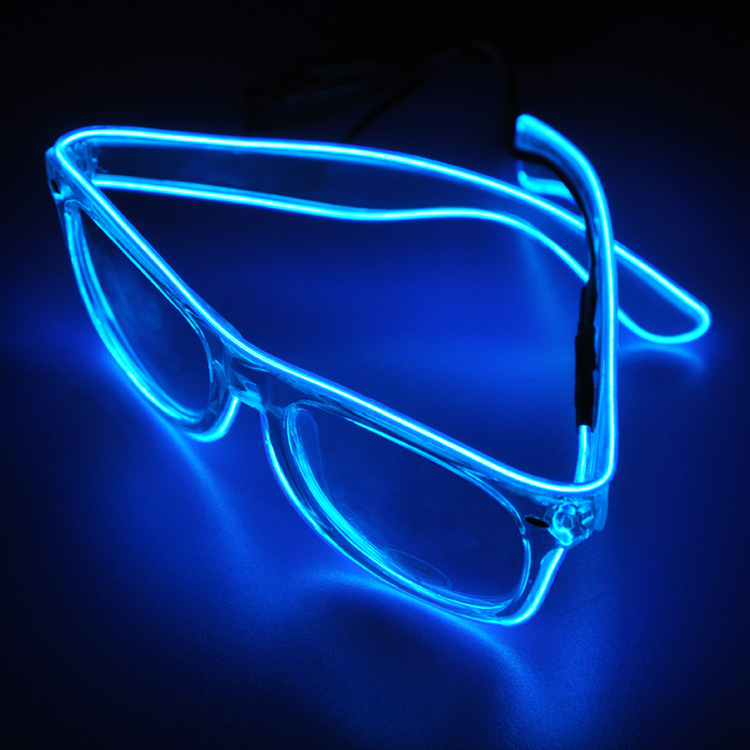 2pcs/lot El Wire Glow Sun Glasses Led DJ Bright Light Safety Light Up Multicolor Frame Voice control led flashing glasses(China (Mainland))