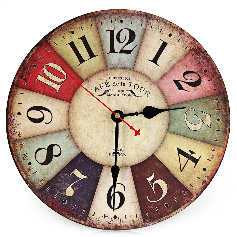 Best sale new large wooden wall clock round vintage france for Buy digital art online