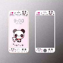 Cartoon cute I love panda Tempered Glass film Protective for iPhone 6 case 6S Front Films Cover Screen Protector freeshipping