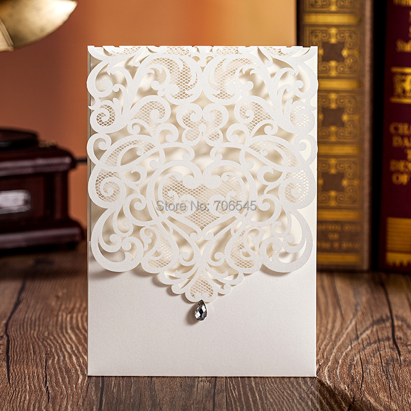 Wishmade White Brown Laser cut Wedding Invitation Cards,Luxury invitations, Printable inner, 50 pcs/lot - Shenzhen And Party Supply Co.,Ltd store
