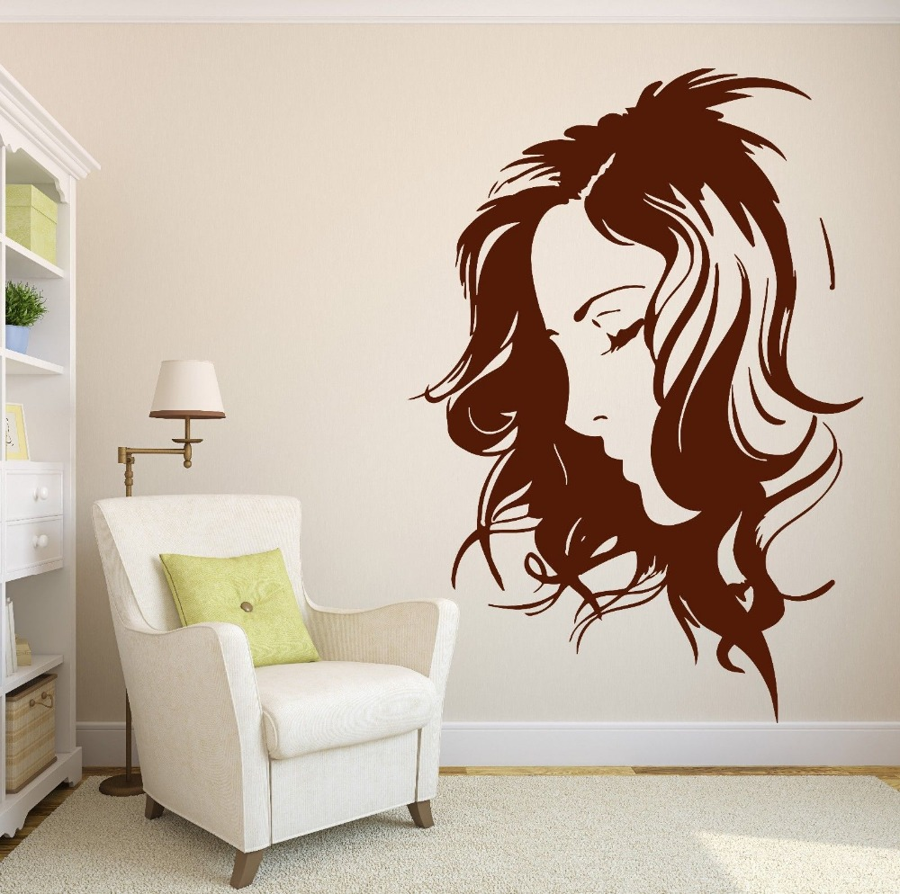 Women salon sticker decal haircut barber shop posters vinyl wall art decals p - Decoration mural salon ...
