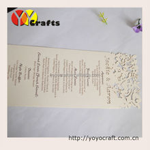 INC074--baby shower paper menu cards creative models,laser cut menu cards with printing service(China (Mainland))