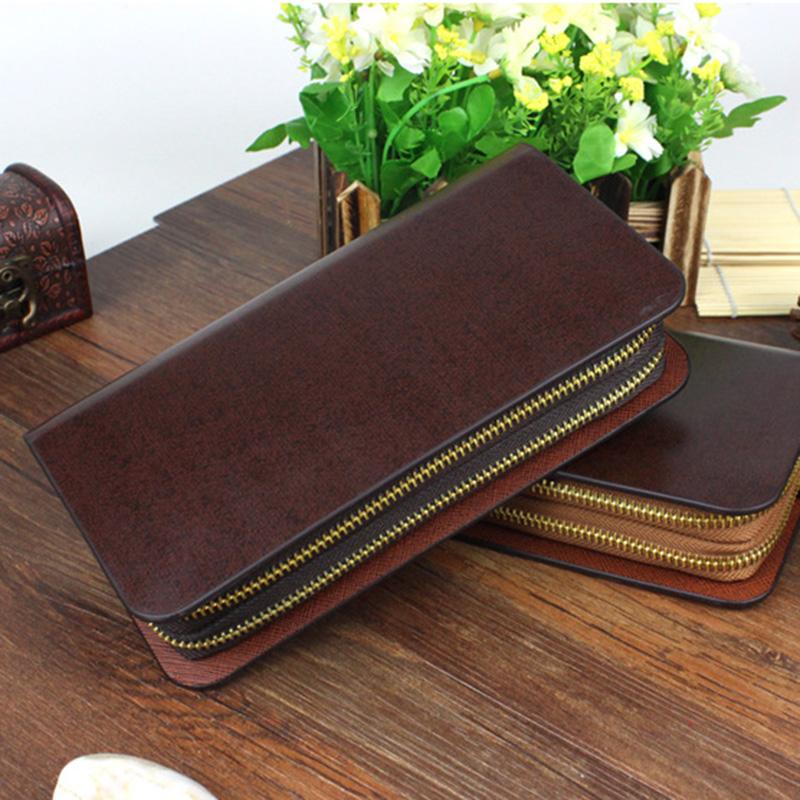 2pcs/lot Men Outdoor Brown Handbag Double Zipper Rectangle Wallet Cell Phones Business Cards Clutch Bags hb350(China (Mainland))