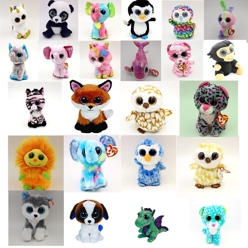 TY Beanie Boos Cute Slick Fox Plush Toys 6'' 15cm Ty Plush Animals Big Eyes Eyed Stuffed Animal Soft Toys for Kids Gifts(China (Mainland))