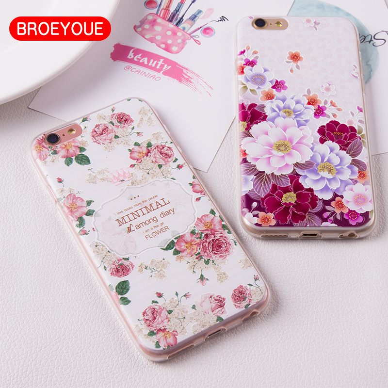 Soft TPU Case For iPhone 7 6 6S Plus 5S SE Cover Silicone 3D Relief Flower Girl Female Mobile Phone Cases Cover Fundas Coque(China (Mainland))
