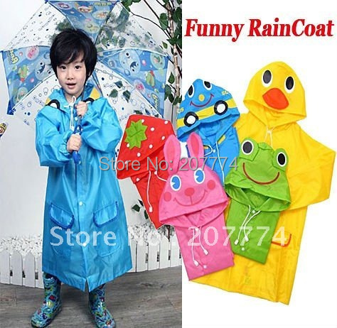 Christmas gift for Kids Funny Raincoat Child Children Cartoon Baby Rain coat -Auto-Duck-Bunny-Frog Free shipping