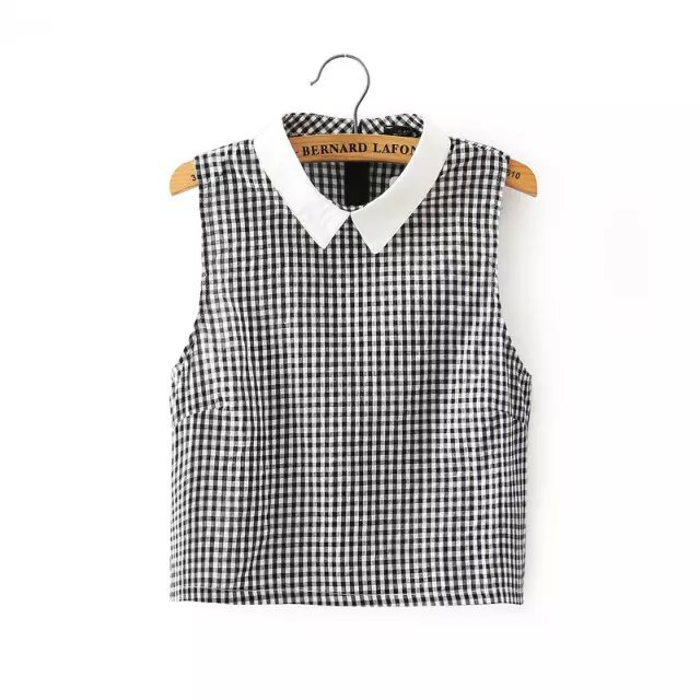 Hza229 New Fashion Summer Women's Vintage Plaid Gingham Shirting Sleeveless Turn-down Collar Blouses Elegant Ladies Crop Tops(China (Mainland))