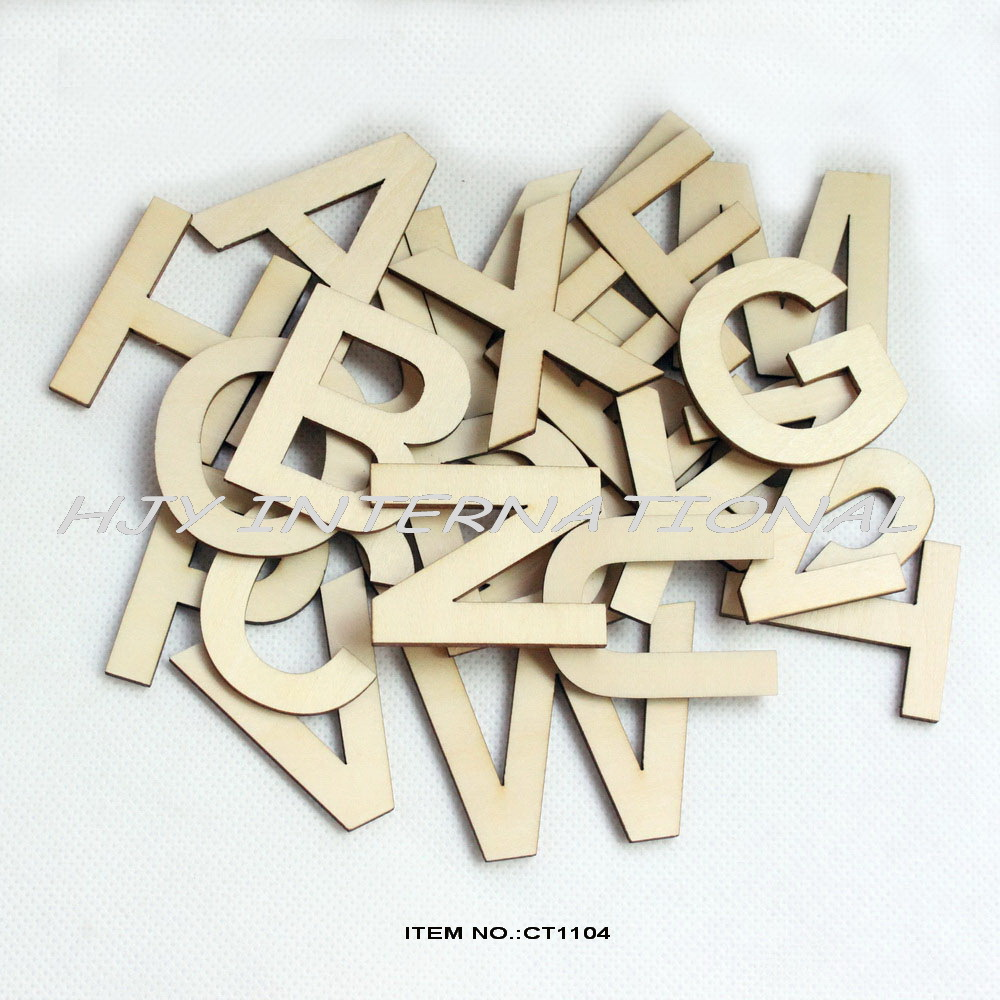 26letters 78pcs lot wooden alphabet letters set for Wholesale wood craft cutouts