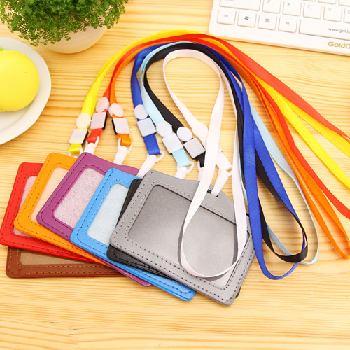 Name Credit Card Holders Women Men PU Bank Card Neck Strap Card Bus ID holders candy colors Identity badge with lanyard PY014(China (Mainland))