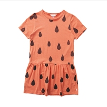 (12m-6y) Baby Girls Dress 2016 New Fashion Orange Raindrop Print Short-Sleeve Cotton Baby Costume Girls Dress For Kids Clothes