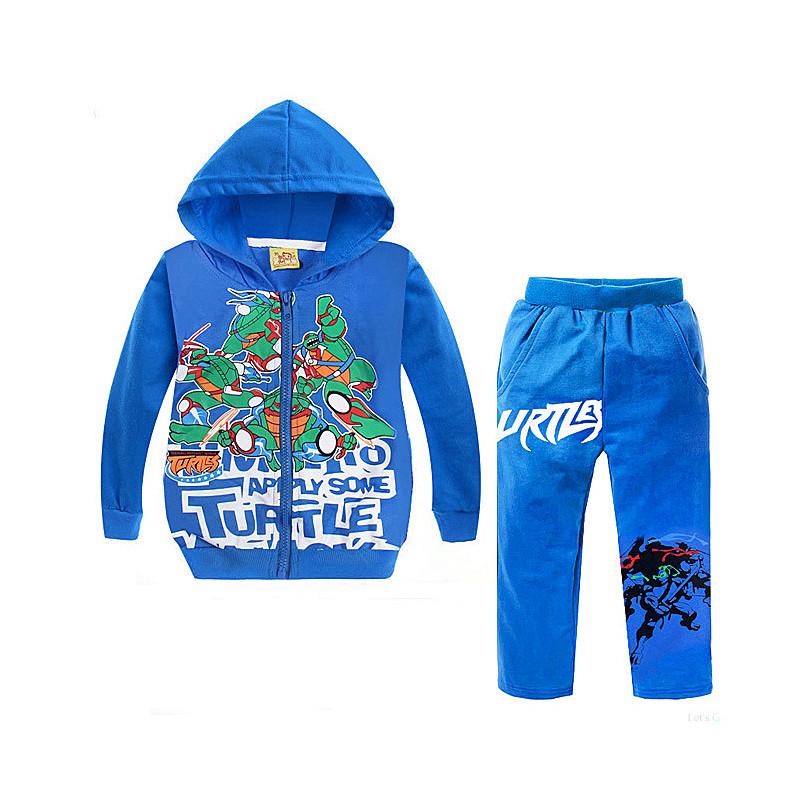 Autumn Boy Sport Suit Children Clothing Set Print Cartoon Mutant Ninja Turtles Coat Hooded Zipper+pants Tracksuit Kids Clothes(China (Mainland))