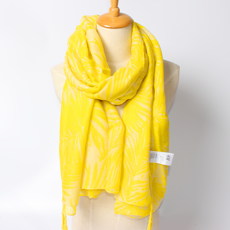 Original foreign order Women vocation holiday floral scarf yellow scarf autumn spring warm scarves cape muffer free shipping(China (Mainland))