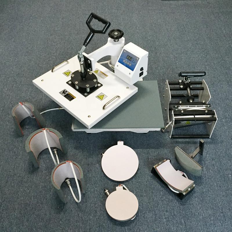 mugs caps tshirt combo heat press machine with CE certification 8 in 1 sublimation heat transfer printing machine(China (Mainland))